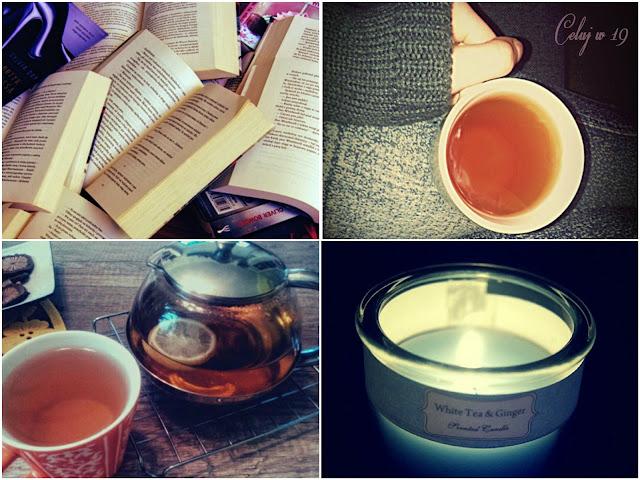 książki, herbata, zaparzacz, świeca
