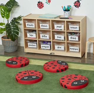 Ladybug classroom seating cushions