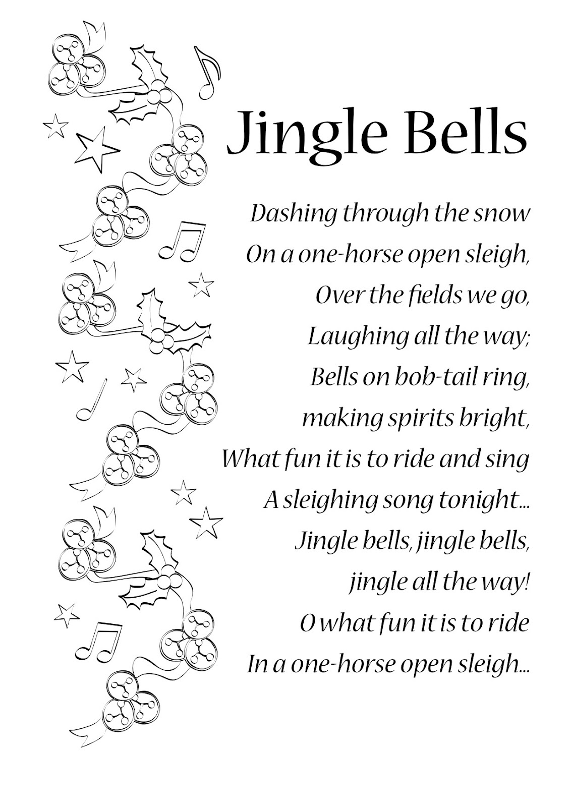 Search Results For Printable Jingle Bell Lyrics Calendar