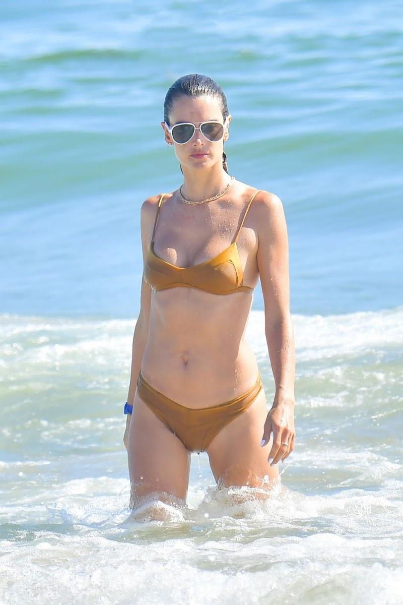 Alessandra Ambrosio Clicked in Bikini on the Beach in Malibu 1 Aug -2020
