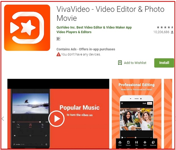 Editing Video Android VivaVideo
