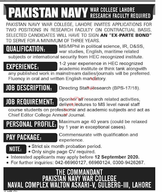 pakistan-navy-war-college-lahore-jobs-2020