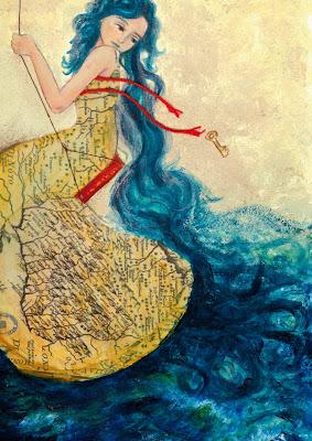 La ilustración muestra una mujer que se columpia. Vestida con mapas de ríos su pelo se vuelve mar.
