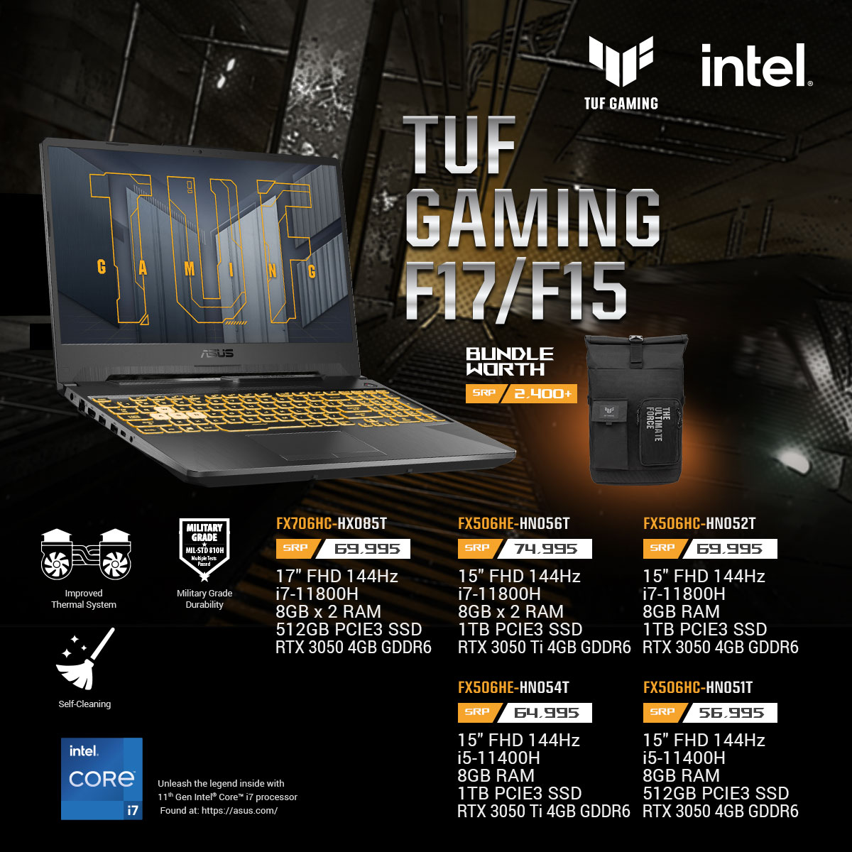 TUF Gaming F17/15 Key Features and Price