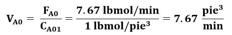 Flujo volumétrico de la especie A en el ejemplo