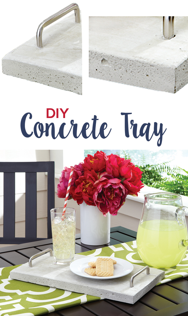 diy concrete serving tray with silver handles