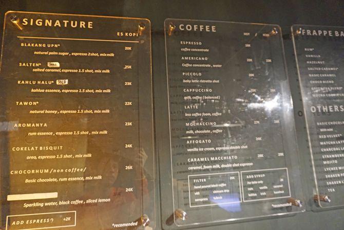 Daftar menu dan harga di  Le Travail Coffee Jogja