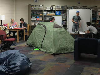 Image of Students camping out in library during finals week