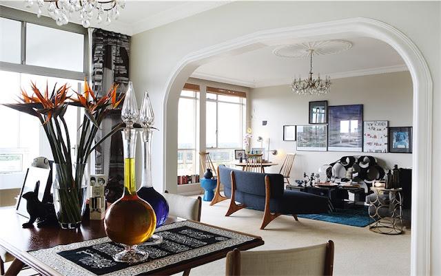 salon decorado con piezas vintage y arte chicanddeco