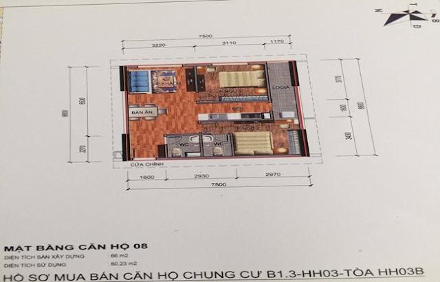 Sơ đồ thiết kế căn hộ 08 chung cư B1.3 HH03B Thanh Hà Cienco 5