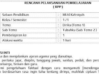 RPP Kelas 1 Tema 1 sub tema 2 (K-13 revisi 2017)