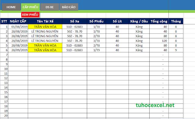 Share file quản lý nhiên liệu bằng Excel