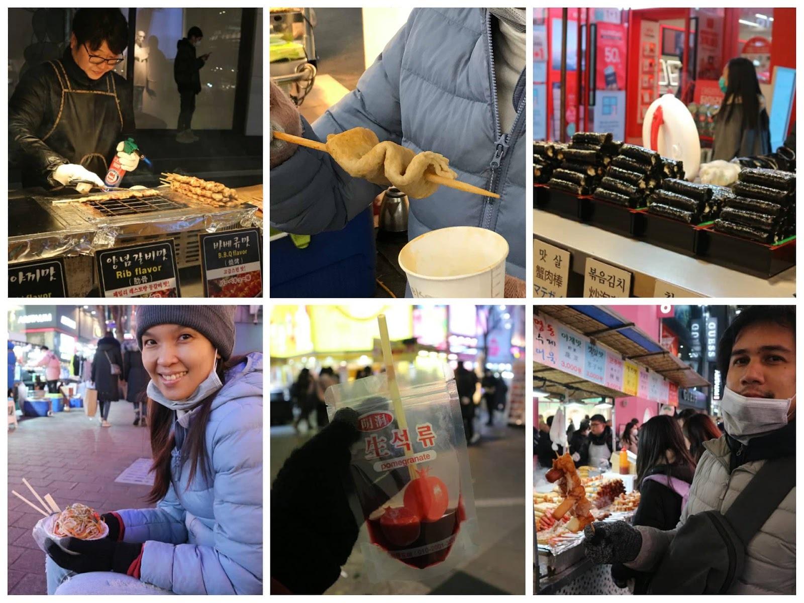 Eating different street food in Myeongdong