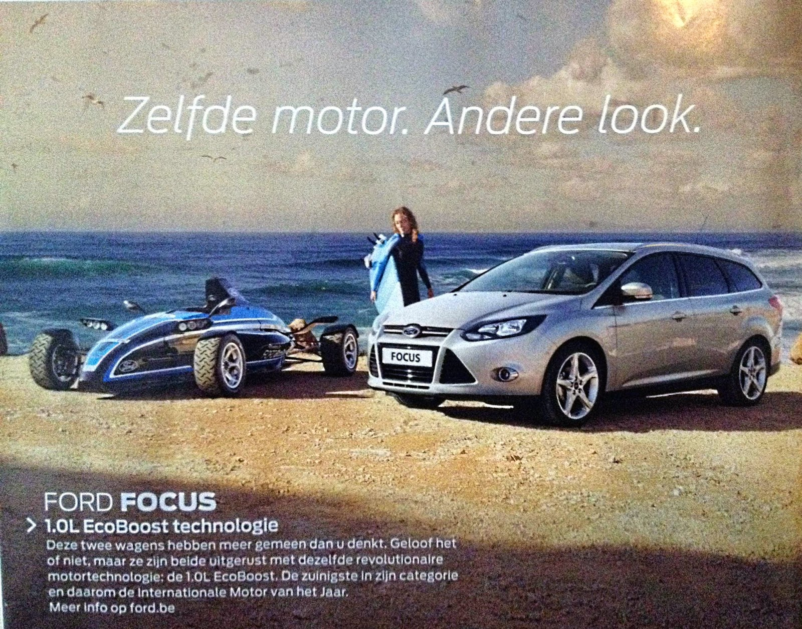 Ford Focus golfsurfen surfing advertentie