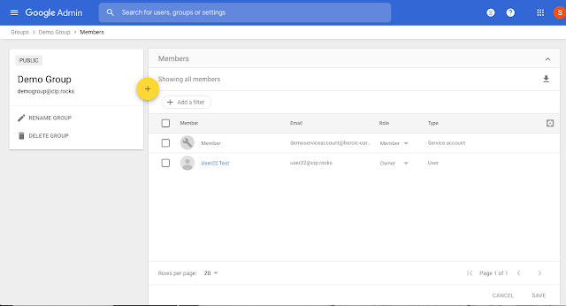 Adding support for service accounts in Google Groups 1