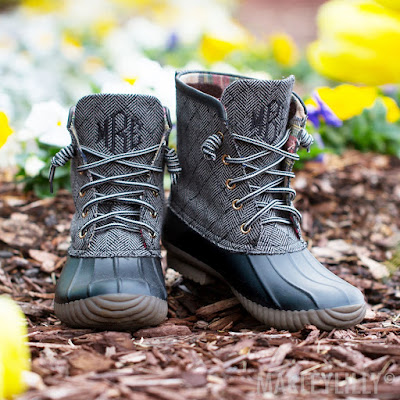 black herringbone monogrammed duck boots in flowers
