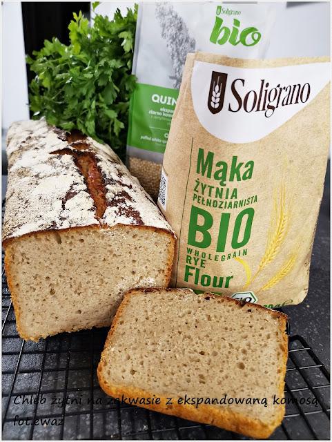 Żytni chleb na zakwasie z komosą ekspandowaną