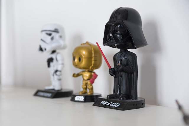 Custom bobbleheads darth vader holding a red jedi sword and stomtrooper
