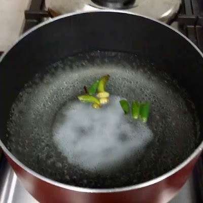 Salted water boiling with green chillies and whole spices