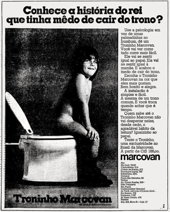 Propaganda antiga do Troninho Marcovan para crianças apresentado em 1975