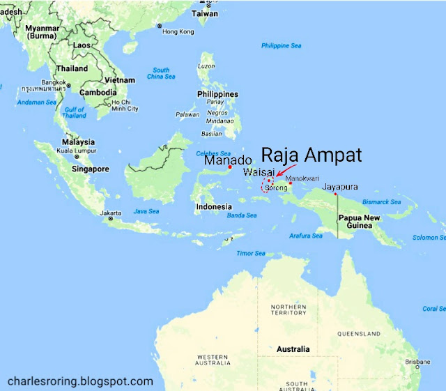 Map location of Raja Ampat islands