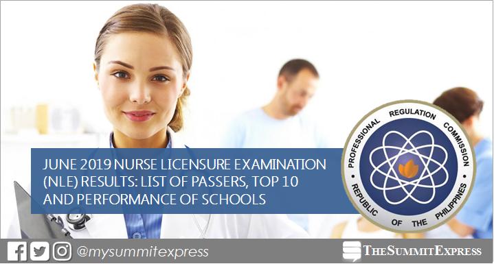 FULL RESULTS: June 2019 NLE Nursing board exam list of passers, top 10