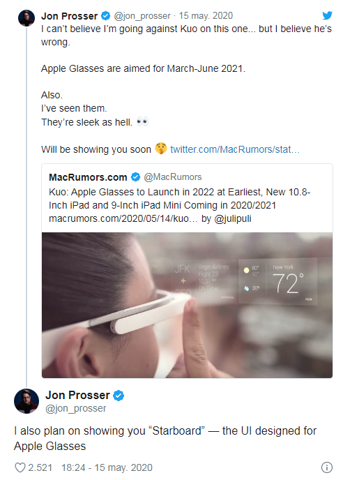 tweet Jon Prosser asegurando que las nuevas gafas de Apple saldrán entre marzo y junio de 2021