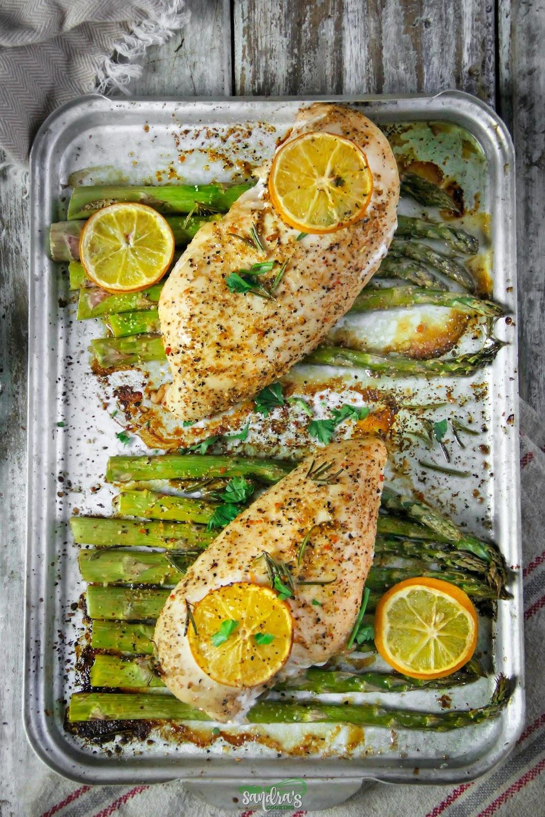 Lemon-Herbs Chicken with Asparagus Sheet Dinner #recipe
