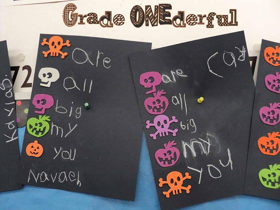 Grade ONEderful: Halloween foam stamps, black paper, chalk wall words