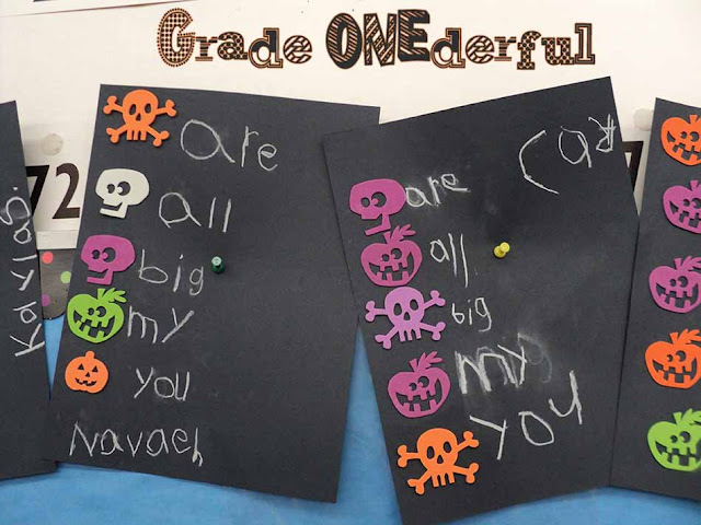 Grade ONEderful: Halloween foam stamps, black paper, chalk wall words