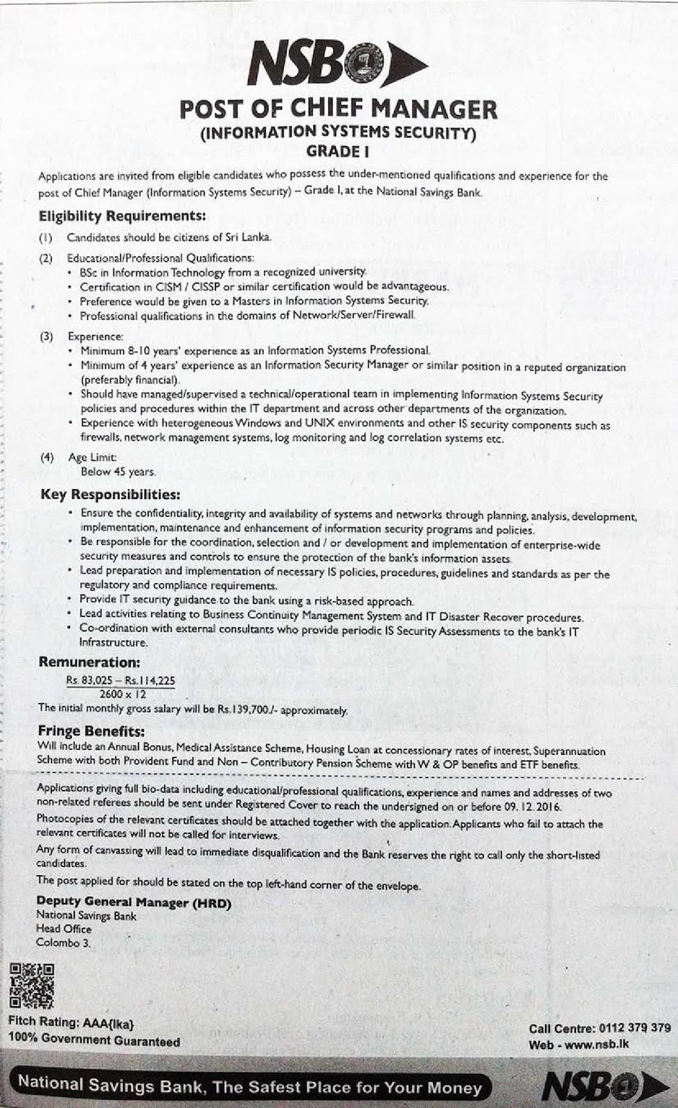 Sri Lankan Government Job Vacancies at National Savings Bank