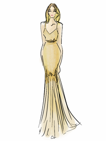 Rosie Huntington-Whiteley Dress Illustration