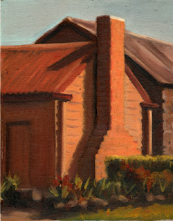 Oil painting of a chimney attached to a small weatherboard cottage.