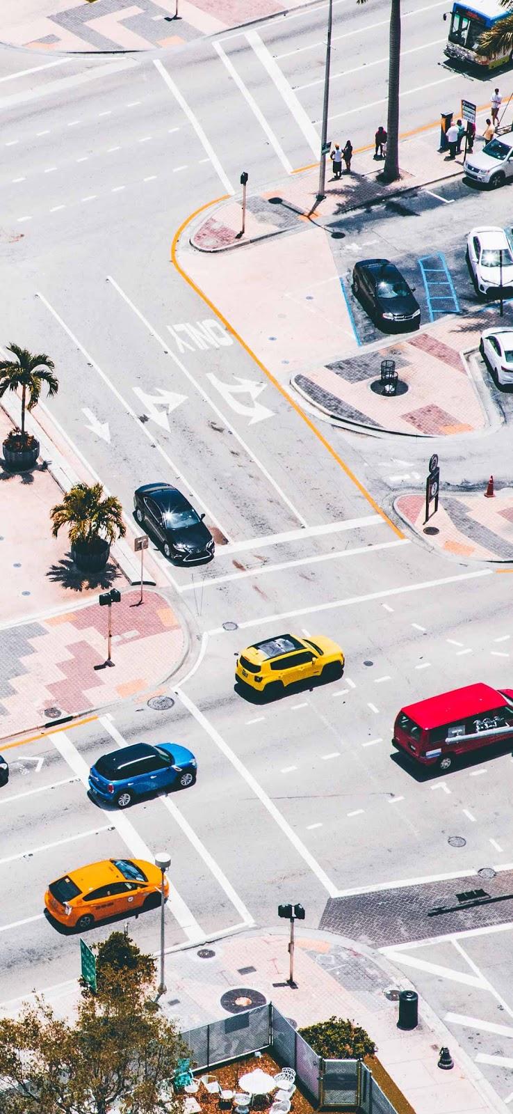 Street aerial view in summer