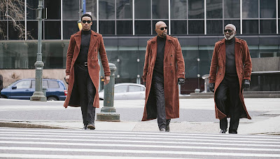 Jessie T. Usher, Samuel L. Jackson, and Richard Roundtree walk down the street in matching red jackets in the third Shaft movie