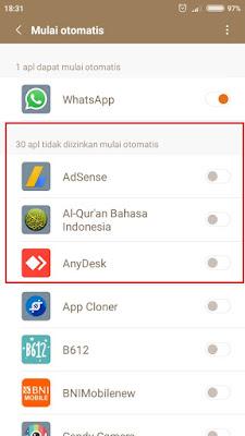 disable aplikasi