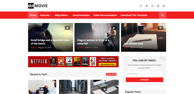 SBT Movie Free Blogger Template