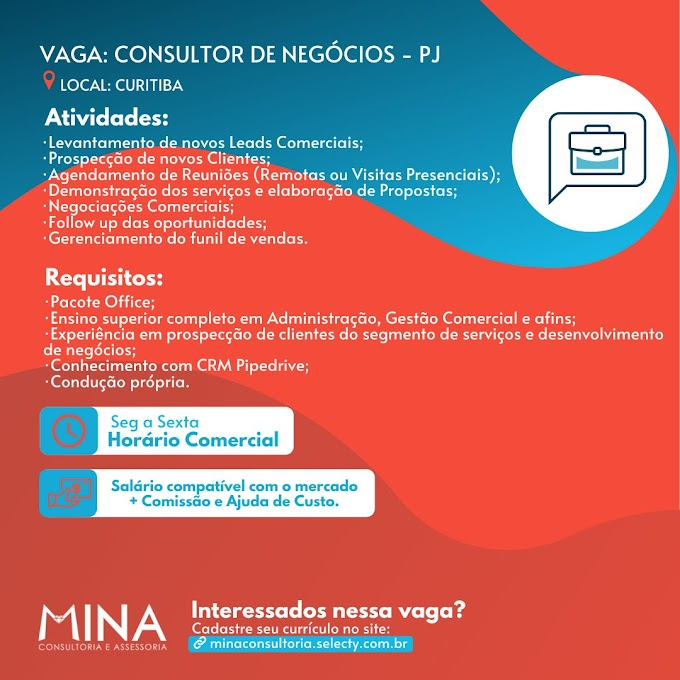 Consultor de Negócios, PJ, Curitiba, PR
