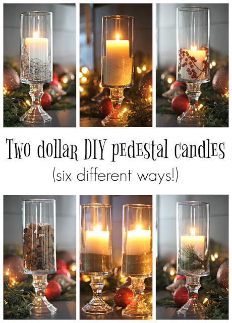 DIY dollar store pedestal candles