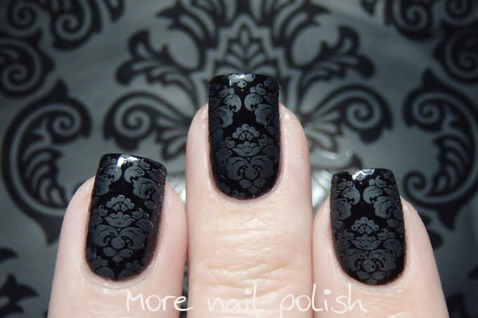 Picture Polish Damask stamping with matte polish ~ More Nail Polish
