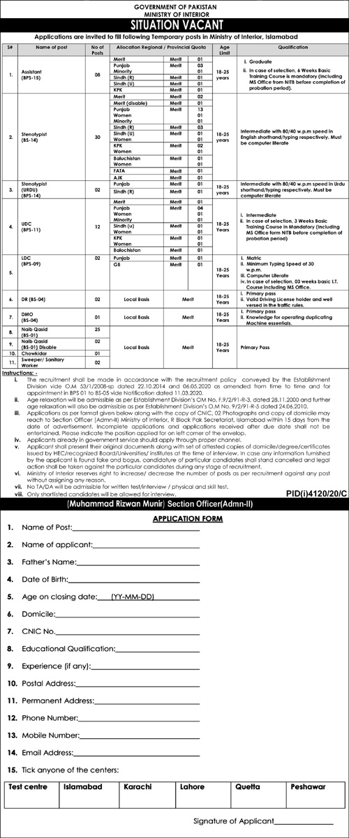 Ministry of Interior Government of Pakistan Jobs 2021 | (85 Posts)