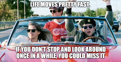 Ferris Bueller: Life moves pretty fast. If you don't stop and look around once in a while, you could miss it.