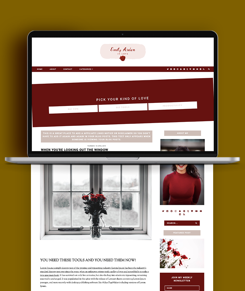 Emily Arden Blogger Template Post Page