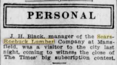 newspaper snippet from 1910 newspaper mention of Sears Roebuck lumberyard in Mansfield, Louisiana
