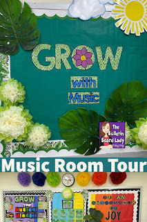 Grow with Music themed classroom pictures include plants, Boho style and lots of rainbow color while adding music references and inspiration.