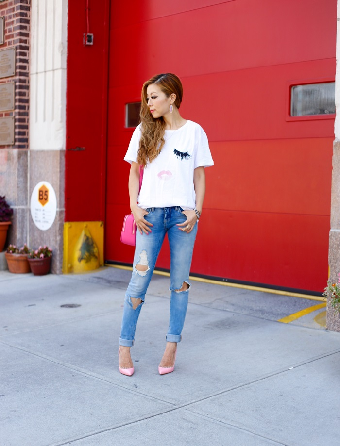 sincerely jules tee, sincrerely jules lips and lashes tee, blank denim distressed boyfriend jeans, kate spade poppy bag, kate spade bag, kendra scott earrings, christian louboutin heels, gorjana necklace, t and j designs ring, t and j glam, wanderlust and co ring, mystic bazaar, kendra scott, fashion blog, nyc