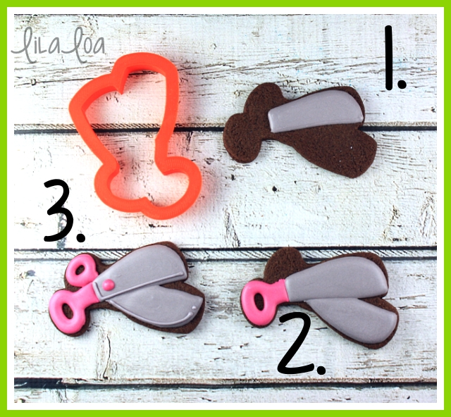 Tutorial for quick and easy scissors decorated cookies for school!