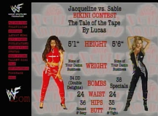WWE / WWF - Fully Loaded 1998 - Tale of the Tape for Jacqueline vs. Sable Bikini contest