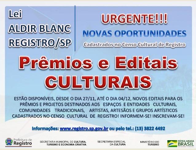 Prefeitura de Registro-SP lança novos editais de cultura através de recursos da Lei Aldir Blanc