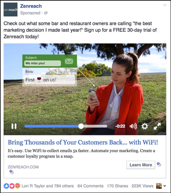 Iklan Video Tunggal Facebook